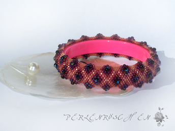 Perlenroeschen, Beading, Pink Bangle; Peyote,